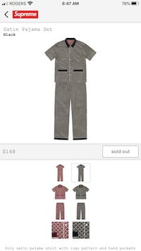 Supreme satin pajama set Black large