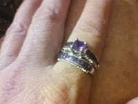 Two Piece 925 Silver Amethyst Rings Size 9 Fresno