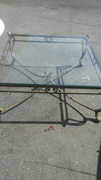 Wrought iron glass top coffee table Ammon, 83406