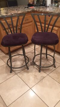 Two black metal framed black leather padded bar stools Pleasant Hill, 94523