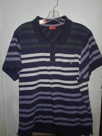 blue and multicolored striped polo shirt