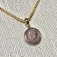 "Genuine 14k Yellow Gold Roman Coin Pendant with 22"" 14k Rope Chain Ashburn"