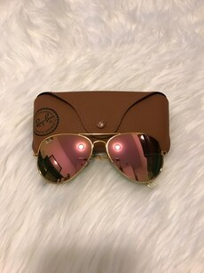 Gold frame Ray-Ban sunglasses with case