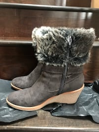 Brown Wedge Heeled Boots  Size7.5 Richmond