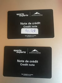 2 gift cards sports experts one 91.98 I for 86$ one 179$ for 172 (255)