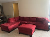 red suede sectional sofa with ottoman