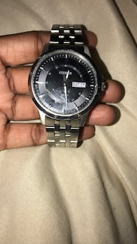 Round black fossil chronograph CITIZEN watch with silver link bracelet Baltimore, 21215