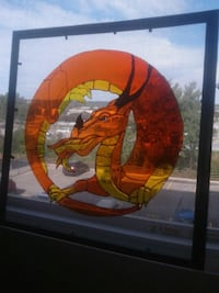 Dragon stained glass art