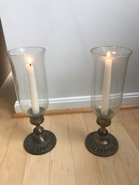 Beautiful brass candle holder with hurricane glass