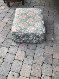 Pouf cushion hand made and beautiful in exc. condition. $50. End table with three drawers, wicker like storage shelving unit -$30 Laval, H7T 1C8