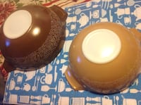 2 Pyrex woodland bowls brown tan 444 and 443 Calgary, T2C 0P5