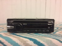 black Sony 1-DIN car stereo head unit