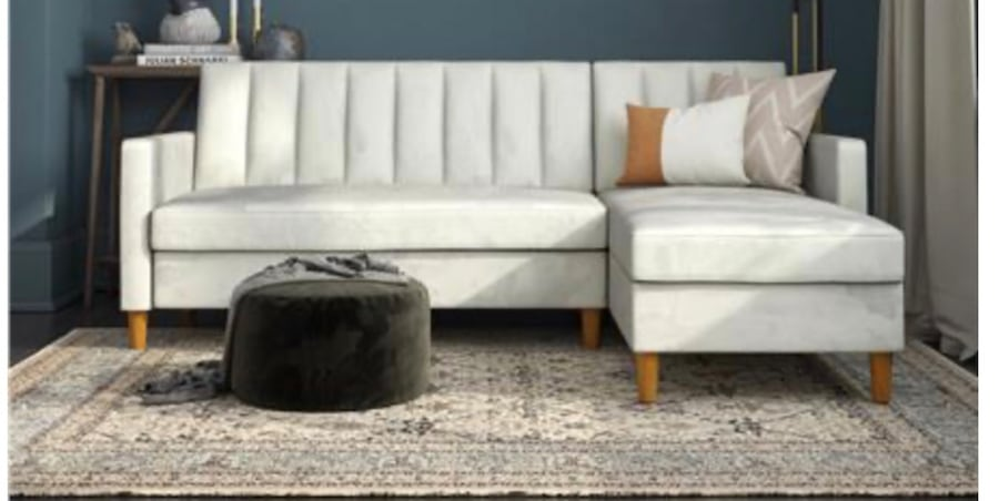 Futon Sectional with Storage (Velvet Light Gray) ***Assembly Required d2e60706-93a3-45d7-b4e6-acfd242fd170