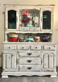 white wooden TV hutch with flat screen TV 2283 mi