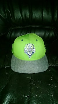 green and gray Seattle Sounders embroidered fitted cap 2296 mi