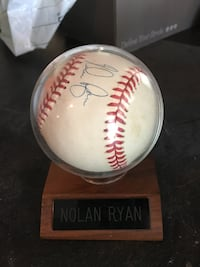 Authentic Nolan Ryan autographed baseball.  Houston, 77075