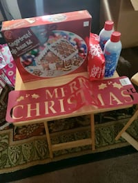 Ginger bread house, 2 snow cans, stencil, table cloth