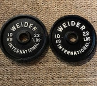 Pair of 10kg olympic weights