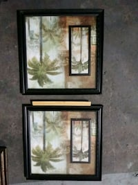 two palm trees painting with brown frame