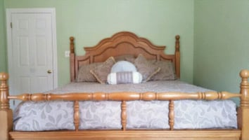 Solid Oak King Bed Frame, Mattress, and Box Spring