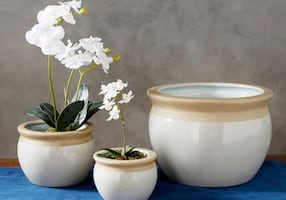 Pottery Barn New Crackle Cachepot Pots/Planters (Set of 3)