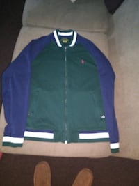 Large polo varsity zip up jacket