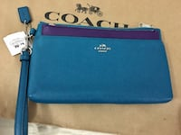 Teal and purple coach leather wristlet Surrey, V3R 4H1