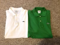 Lot of 2 Lacoste 6 Men's Short Sleeve Polo Shirts Size 6 L Green & White Hurricane, 25526