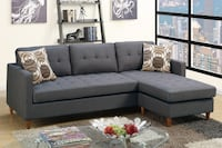 Brand New Manuela Blue Grey Fabric Reversible Sectional Sofa by Poundex 2272 mi