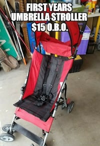 baby's red and black lightweight stroller