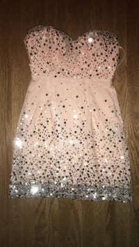 BNWT pink sequined sweetheart neckline mini dress