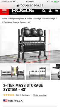 """Rogue Fitness 2-Tier 43"""" Mass Storage System with Rogue Bookshelf Divider's Bolton"""