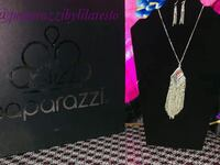 silver-colored Paparazzi necklace and earring set Lenoir