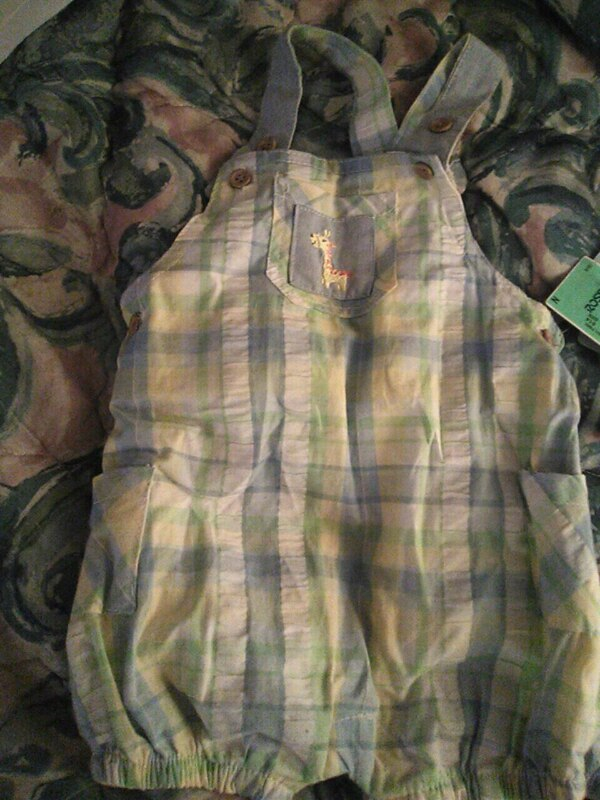 toddler's yellow, green, and gray plaid dungaree shorts