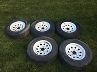 four gray auto wheel with tires Middletown, 21769