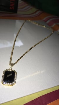 Iced onyx pendant with gold plated Cuban link  Winnipeg, R3G 1H2