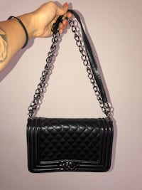 Black quilted leather bag (CC lookalike)
