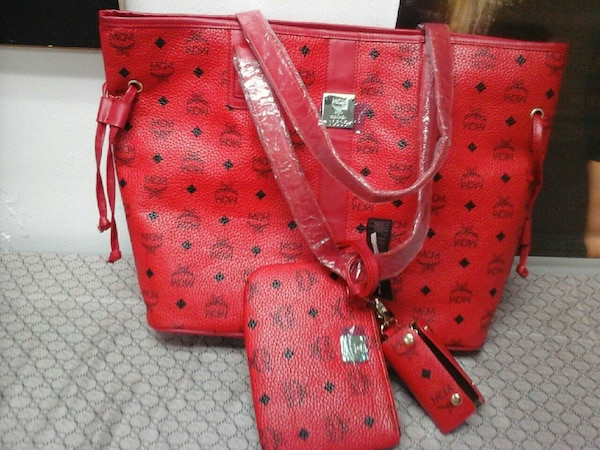Red Mcm Leather Tote Bag With Wristlet