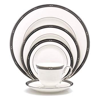 Photo Lenox Diamond Solitaire Platinum Banded Bone China Set of 10 of each