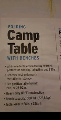 Folding Camping table w/ benches