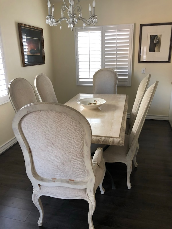 Used Kreiss Marble Dining Table With 6 Chairs For Sale In Redondo