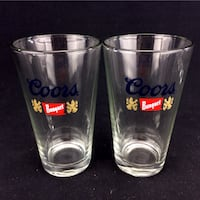 Set 2 Coors Banquet Beer Glasses Ale Brewery Collectible Matching 12oz Port Colborne