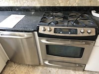 Set of appliances gray and black 4-burner gas range oven, dish washer, microwave, refrigerator perfect condition!!!  Springfield, 22151