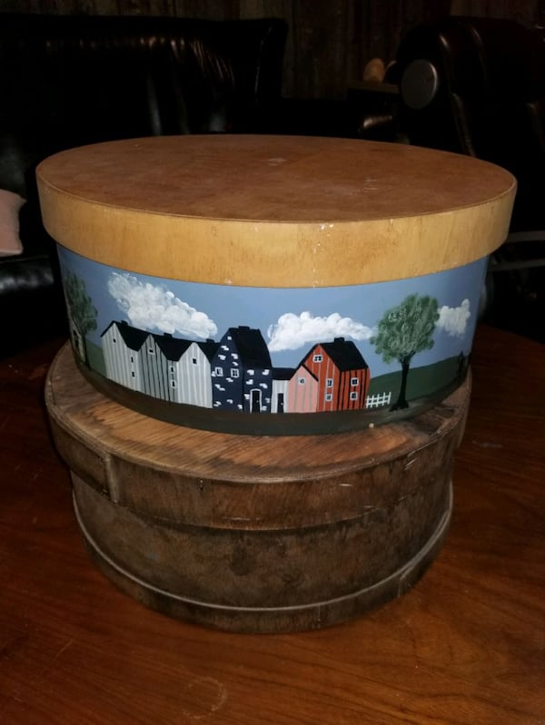 Antique Round Cheese Box with Lid 0