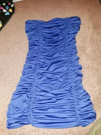 Royal blue tube top, crumpled, fitted mini dress