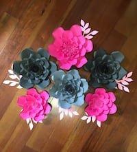 Paper flowers grey and dark pink colour.    Toronto, M9N