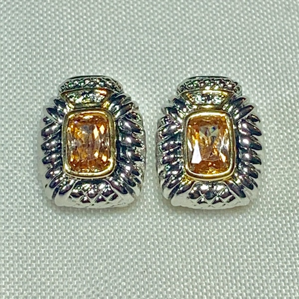 Vintage Sterling Silver Citrine Earrings 04846fcf-c047-492c-b75a-282a2d6fb2c3