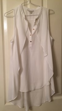 women's white button-up frill sleeveless blouse Langley, V2Y 3B6