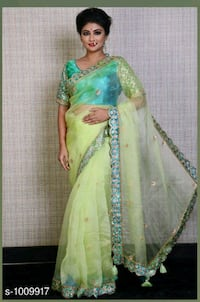 women's green and white floral sari dress