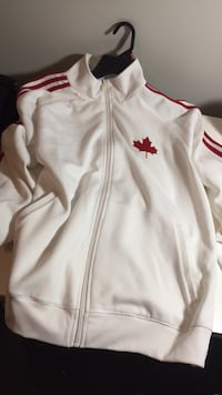 white and red Adidas zip-up jacket Burnaby, V5G 2J9
